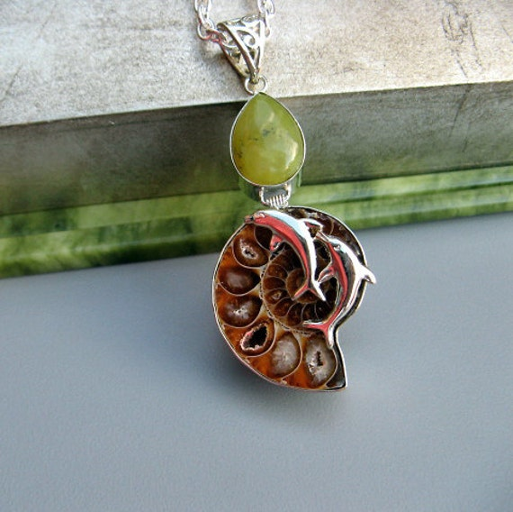 Sale - Ammonite Fossil Crystal Pendant and Jadite Necklace in Silver Setting with Dolphines - Ancient Life from Madagascar