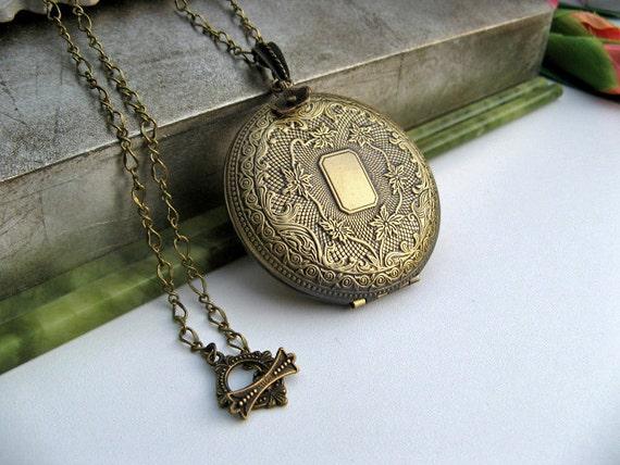 SALE - Cherish Family Photo Locket Necklace - Victorian Era Floral Locket Pendant - Antiqued Bronze Ornate Chain