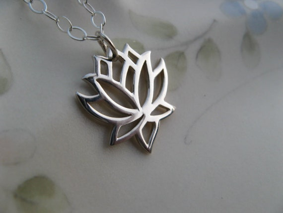 Silver Lotus Flower Necklace - Sterling Silver Lotus Necklace - Yoga Jewelry - Lotus Flower Symbolizes Enlightenment