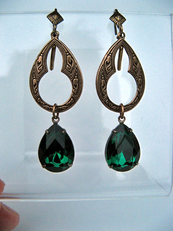 Emerald Rhinestone  Moroccan Style Earrings, Oxidized Brass, Vintage Crystal Jewels, Green, Victorian Style