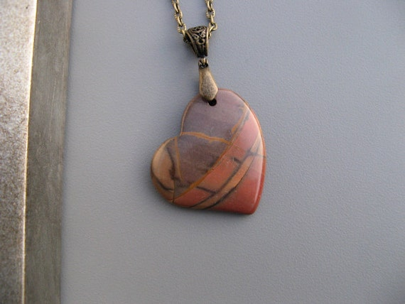 Picasso Jasper Gemstone Heart Pendant Necklace with Bronze Cable Chain