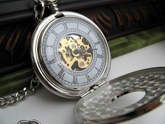 Pocket Watch, Silver Engraved Mechanical Watch, 15 inch Watch Chain, Groomsmen Gift, Men's Watch, Steampunk, Watch - Item MPW155