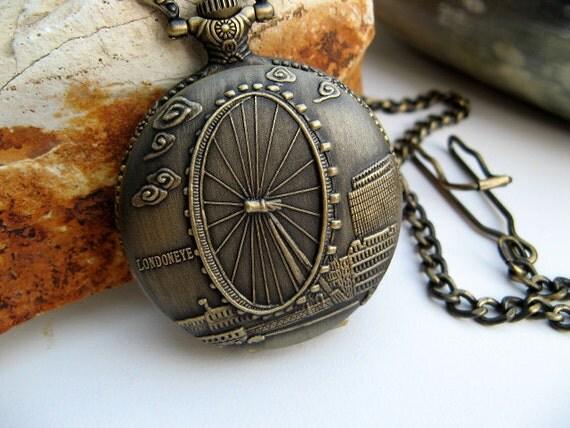 Sale - Antique Bronze Londoneye Quartz Pocket Watch, Pocket Watch Chain - Steampunk - Vintage Style - Victorian Era - QPW747