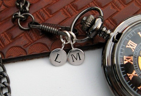 1Pc - Sterling Silver Plated Letter Charm Disk - Personalized Alphabet Charm - Pocket Watch Stamped Letter Charm - Item SSPD A-Z