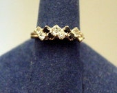 Vintage Cocktail Ring, Black and White Rhinestone Ring, size 7.5 Vintage jewelry Costume jewellery