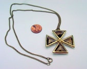 Vintage Tuetonic Cross Necklace, Gold Tone Chain and Glass Pendant Knights Iron Cross Vintage Jewelry Jewellery