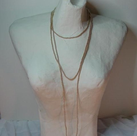 Vintage Givenchy Necklace, Vintage Givenchy Double Strand Tiny Gold Bead Long Runway Necklace, Signed Designer Vintage jewelry Jewellery
