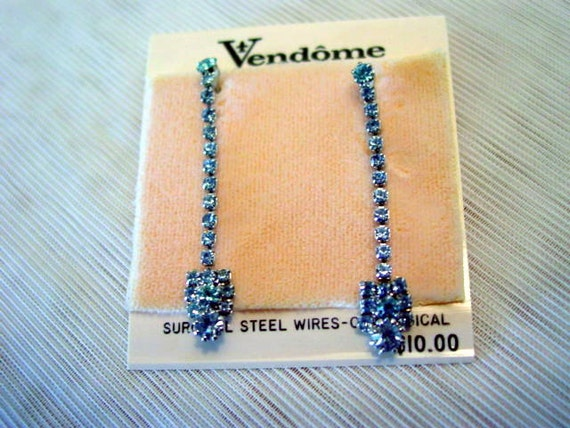 Vintage Vendome Blue Rhinestone Dangle Pierced Earrings New Old Stock on Original Card Costume Jewelry