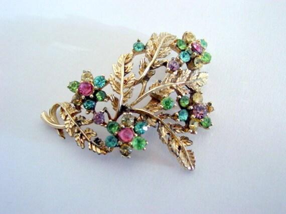 Vintage Rhinestone Brooch, Signed Designer Coro Rhinestone Flower Brooch Vintage Jewelry Costume Jewellery