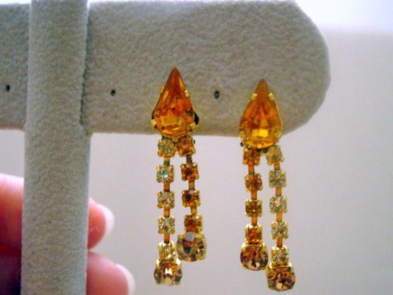Vintage Austria Rhinestone Earrings, Clip ons Amber and Citrine Rhinestones Dangle Signed Earrings Vintage Jewelry Costume Jewellery