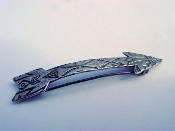 Vintage Arrow Barrette, Native Sterling Silver Arrow Barrette, Vintage Hair Accessory Hair Clip