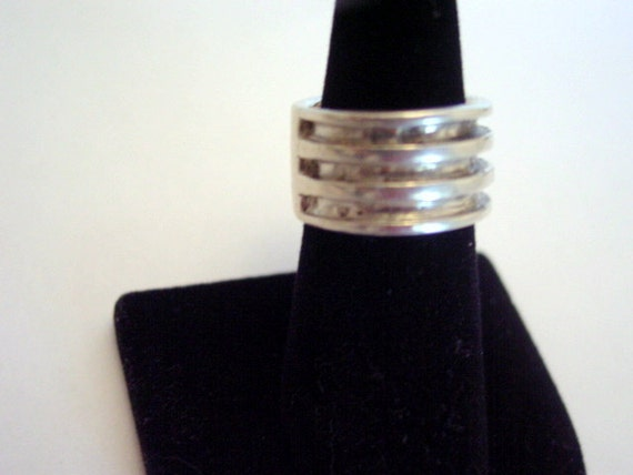 Sterling Unisex Ring, Mens or Ladies Industrial Style Sterling Silver 925 Vintage Ring Size 7 Vintage Jewelry Jewellery