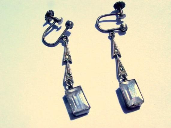 Art Deco Earrings, Antique screw on sterling silver earrings with Marcasites Vintage Jewelry Jewellery Dangle