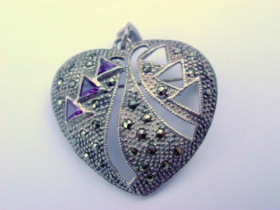 Vintage Heart Pendant, Marcasite and Amethyst Rhinestone Heart Brooch or Pendant Sterling Silver 925 Vintage Jewelry Jewellery