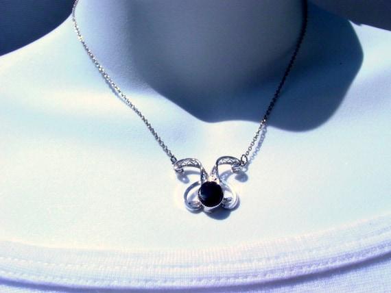 Vintage Sterling Necklace, Signed Designer Titan Sterling Silver and Black Vintage Jewelry Jewellery
