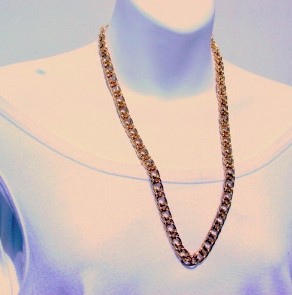 Vintage Givenchy Necklace Gold tone Thick and Heavy Links Signed Designer Jewelry French Couture Jewellery Runway