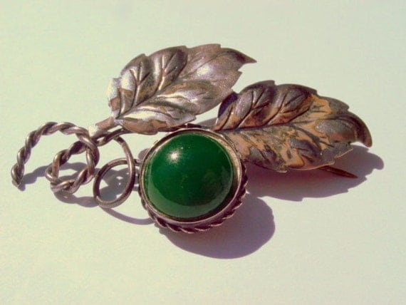 Vintage Sterling Silver Brooch, Leaf Pin with Green Stone Signed Sterling Vintage Jewelry Jewellery
