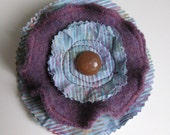 FLOWER BROOCH - purple brooch - recycled sweater brooch - wool brooch