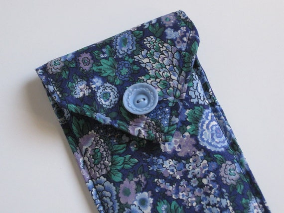 SALE (30% off) EYEGLASS CASE - upcycled blue  tie - Lynn Minney Designs