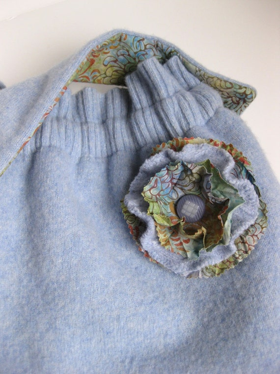 WOOL BAG - sweater purse - blue purse - recycled purse - BONUS flower pin