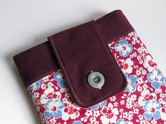 PADDED LAPTOP CASE 13 macbook air recycled red denim and vintage floral by Lynn Minney Designs