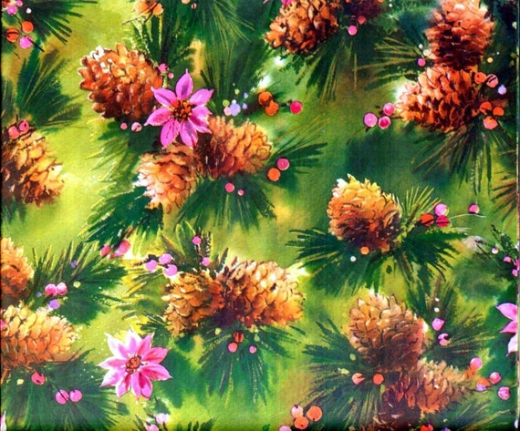Vintage 1970's Christmas Gift Wrap - Pine Cones