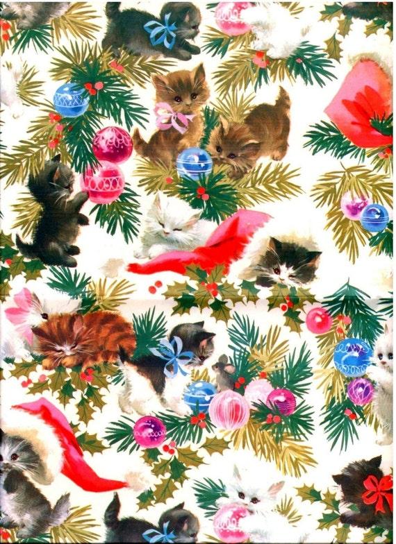 Vintage 1970's Christmas Gift Wrap White Kittens