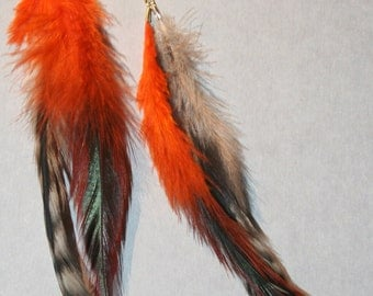 Orange and Gray Feather Earrings