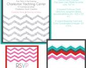 Wedding Invitation Suite- Grey Chevron Design