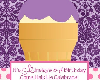 Cupcake Cone Birthday Invite