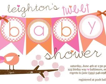 Tweet Baby Banner Shower Invite with Glitter (20 printed)
