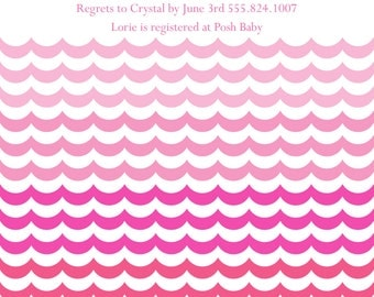 Pink or Blue Ombre Baby Shower Invitations (20 printed 5x7)