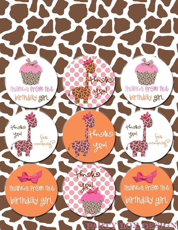 Sweet Giraffe Birthday Printables Collection, customized