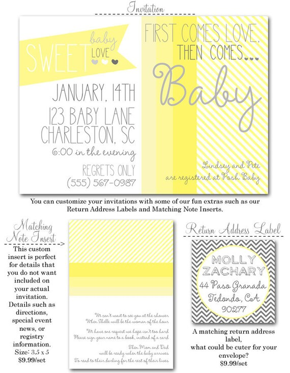 Then Comes Baby Shower Invites (20 printed 5x7) with glitter