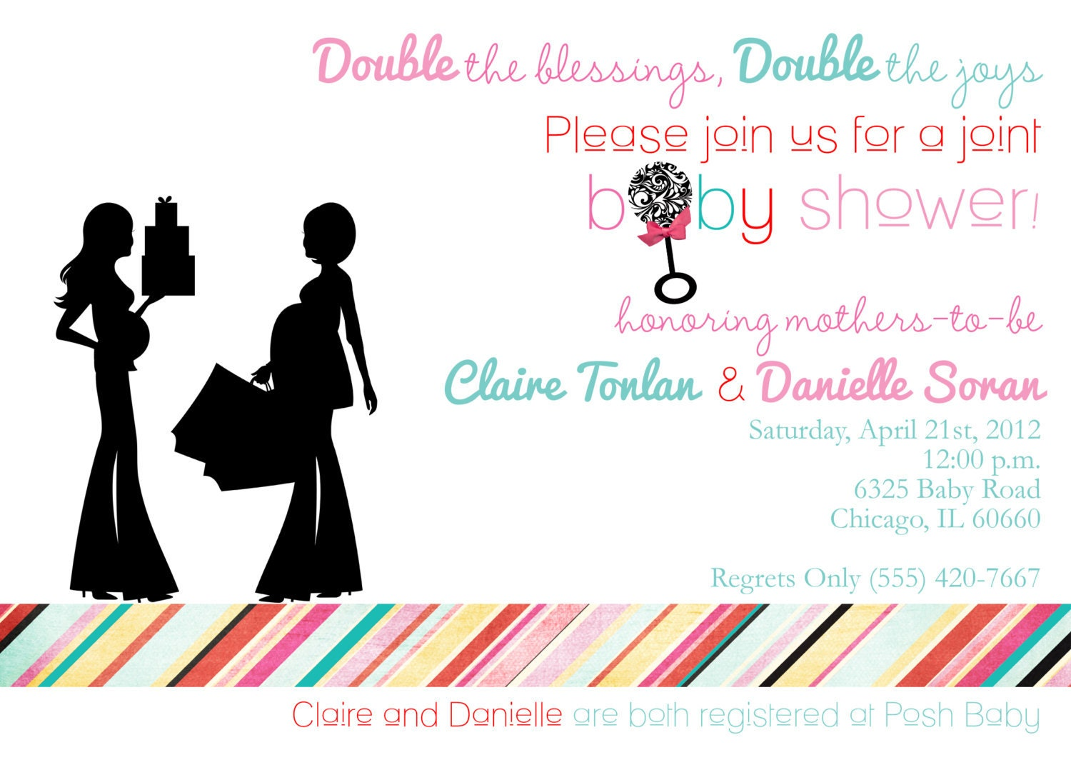 Two Babies Shower Invitation 20 Printed 5x7 By Partyboxdesign