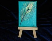 Luminescent Turquoise Peacock Feather Mini Painting