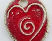 Ceramic HEART and SPIRAL pendant NECKLACE or Wrap Bracelet