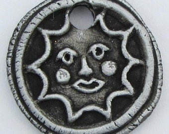 Charm!  SUN FACE pendant NECKLACE bead or Bracelet bead - Great for wrap Bracelets - Flat back Cabs and Bisque for paint your own!