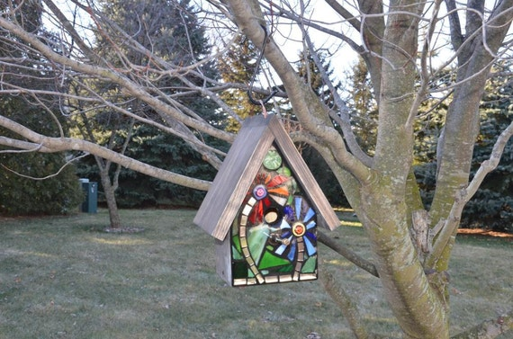 Stained Glass Mosaic Birdhouse FRONT ONLY with Red and Blue flowers on the front