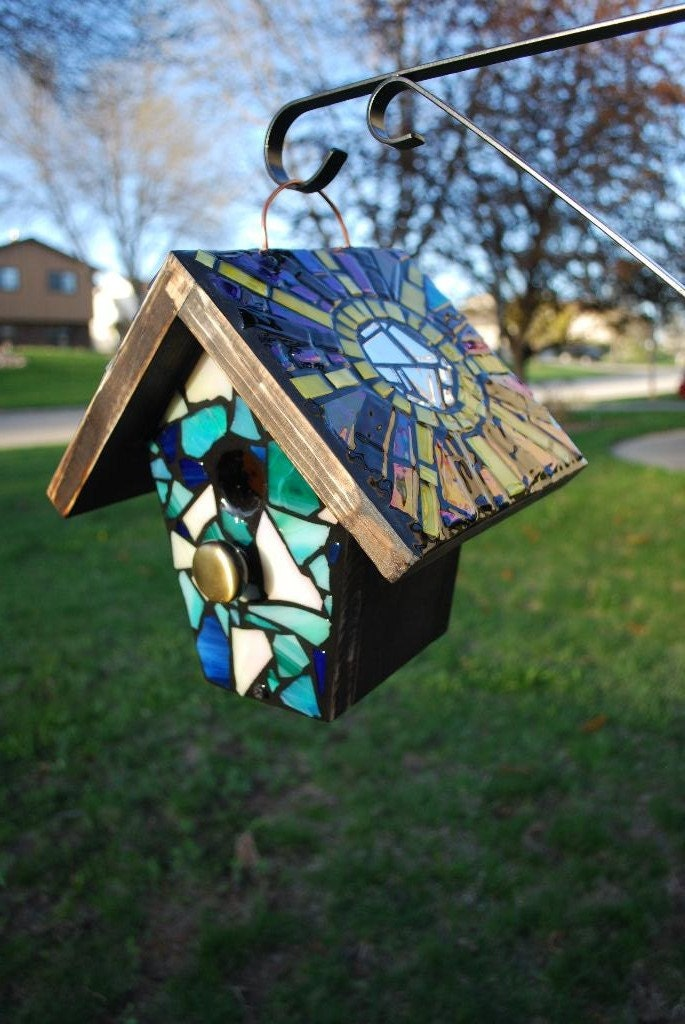 Custom Stained Glass Mosaic Birdhouse On Top And Front