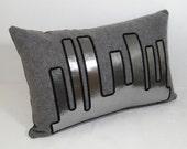 SALE - Modern Silver Pillow - Gray City Skyline - Wool 14X22 inch