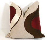 SALE - Decorative Pillow Cover - Modern Red Cream Brown - Cushion - Silk - Ivory Ruby Oatmeal Abstract - 18 inch