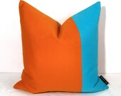 Blue & Orange OUTDOOR Pillow Cover, Modern Color Block, Decorative Pop Color Sunbrella Cushion Cover, Patio Porch Decor, Mazizmuse