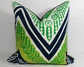 SALE - Blue Green Pillow Cover - Decorative Outdoor Cushion - Modern - Navy White - Acid Lime Chevron - Trina Turk Tangier Frame - 16 inch