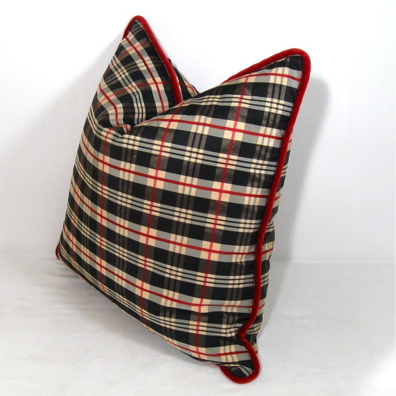 Red Plaid Carolers 18: MUST GO Burberry Look Plaid With Red Velvet Trim Pillow 18