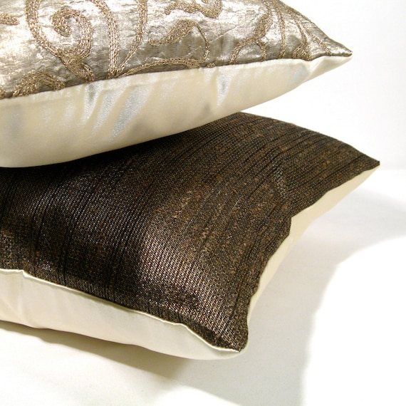 Bronze Metallic Pillow Cover Silk - Father's Day 14 X 20