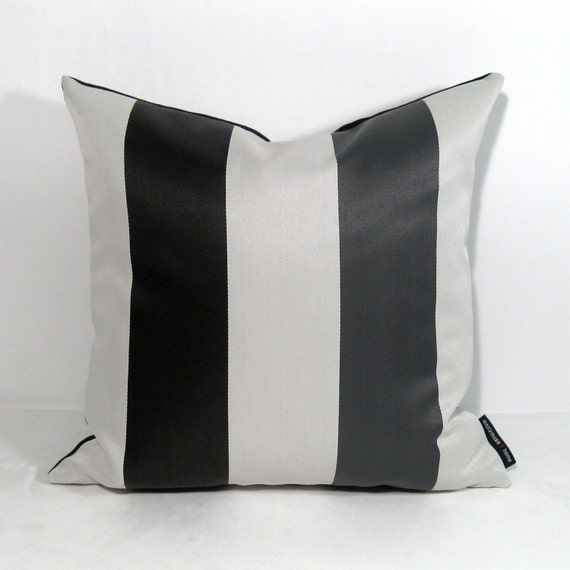 SALE - Black White Gray Pillow Cover -  Decorative Strip Outdoor Cushion -  Modern Charcoal Grey Stripes Bella Dura 16