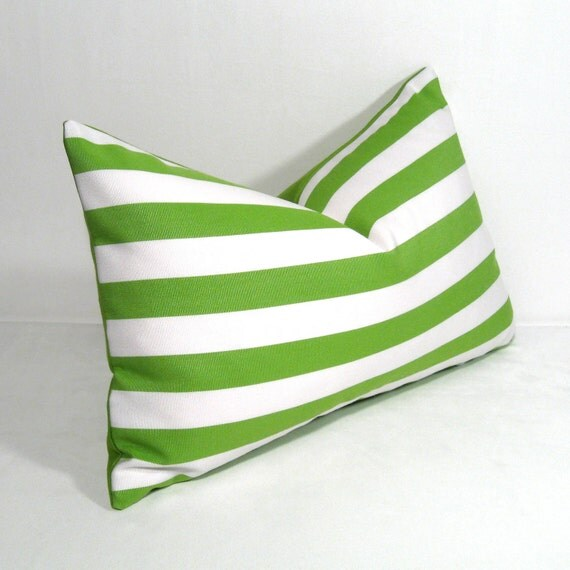 SALE, Green & White Outdoor Pillow Cover, Decorative Striped Pillow Cover, Modern Throw Pillow Cover, Lime Stripes, Sunbrella Cushion Cover