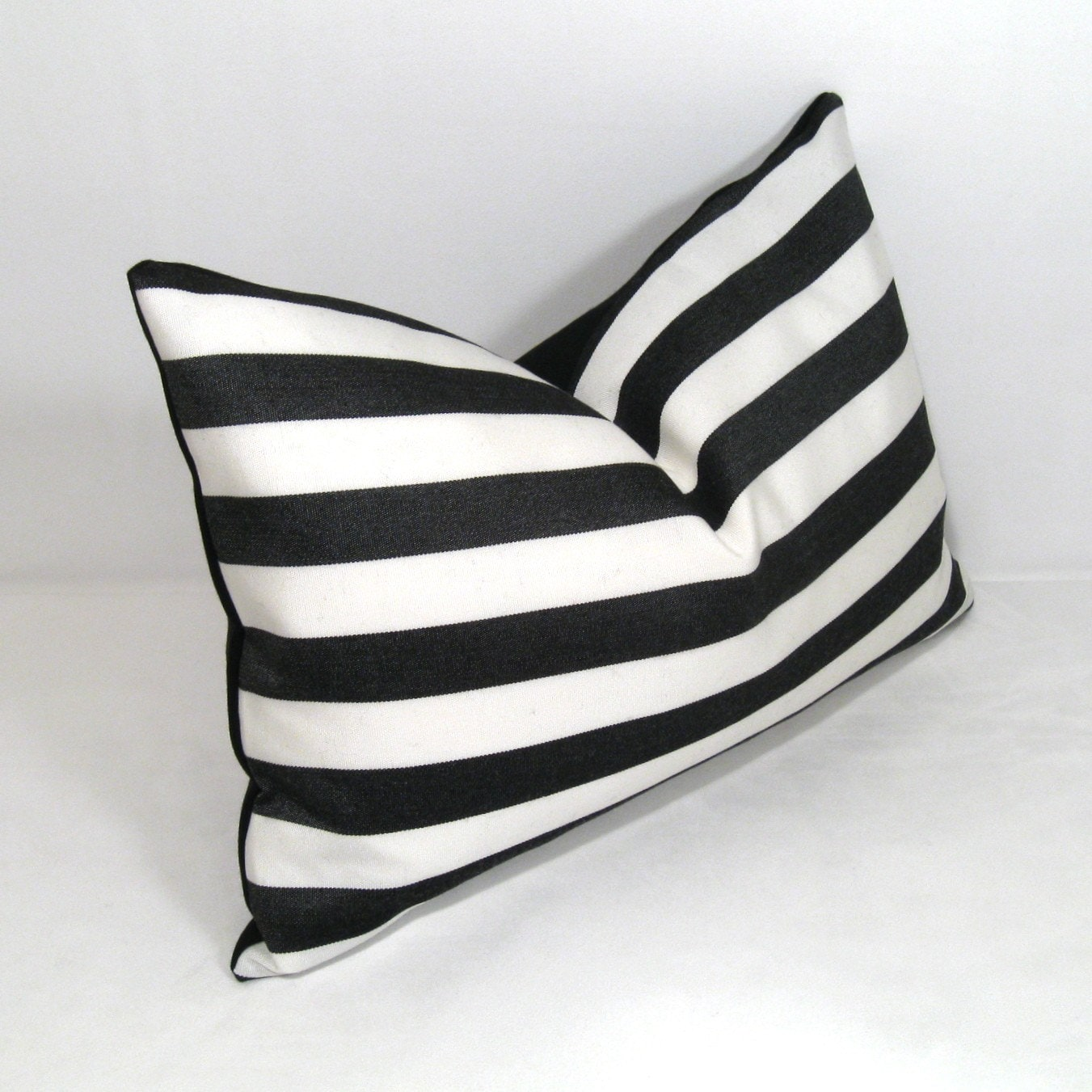 black and white stripe outdoor pillow cushion 12x18 inch. Black Bedroom Furniture Sets. Home Design Ideas