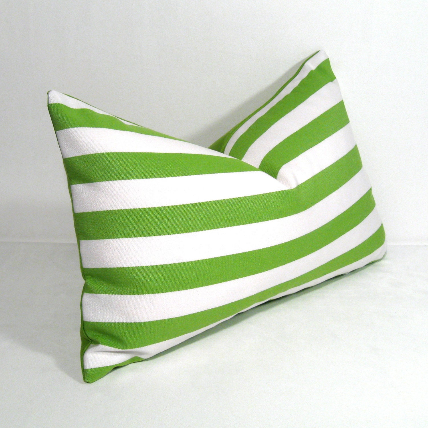 Green & White OUTDOOR Pillow Cover Decorative Striped by Mazizmuse